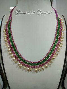 Simple Necklace Designs, Pearl Necklace Designs, Gold Earrings Designs, Gold Jewellery Design, Bead Jewellery, Beaded Jewelry, Jewelry Shop, Emerald Jewelry, Gold Jewelry
