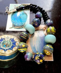 Art Glass Necklace with Sterling Silver 'Galaxies and by rickitic