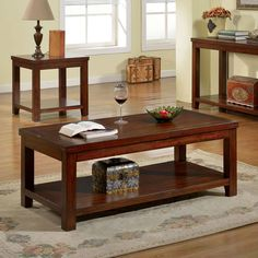 Estell Country Style Dark Cherry Finish Coffee Table