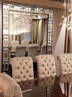 Love mirror & button tufted dining chairs