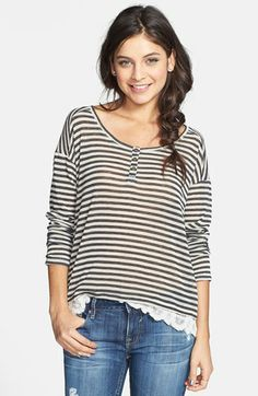 Ten Sixty Sherman Lace Trim Stripe Henley (Juniors) available at #Nordstrom