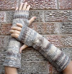Wool Arm warmers, Upcycled fingerless mitts, made from a felted wool cable knit sweater