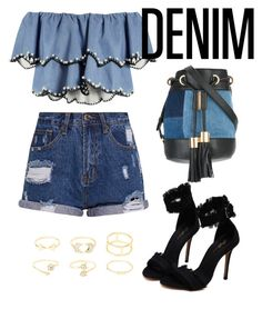 """""""Denim"""" by maryamlovesbeauty ❤ liked on Polyvore featuring HUISHAN ZHANG, See by Chloé and Charlotte Russe"""