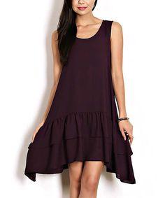 Purple Tiered-Hem Sidetail Dress #zulily #zulilyfinds