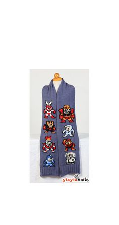 Megaman Scarf Fan edition by Yiayiaknits on Etsy