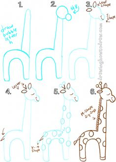 Draw a cartoon giraffe from lowercase letter h