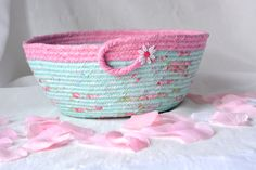 Wexford Treasures: Lovely Pink Gift Basket, ...I Handmade this shabby chic Pink Bowl, ...Pretty Pink Floral Bath Basket, Makeup Organizer, Girls Room Decor, Pink coiled fabric basket by WexfordTreasures on Etsy
