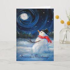"Easy Christmas Paintings On Canvas Luxury ""snowman Gazes at Night Sky & Moon Folk Painting "" by Winter Scene Paintings, Winter Painting, Christmas Paintings, Easy Paintings, Winter Scenes To Paint, Acrylic Paintings, Snowmen Paintings, Christmas Canvas, Christmas Art"