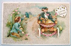 Winsch Valentine Victorian Children Girl Drives Auto Emb Gold Postcard   eBay