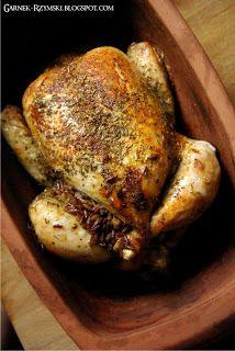 Garnek Rzymski: Kurczak nadziewany ryżem, boczkiem i warzywami Pork, Turkey, Food And Drink, Menu, Cooking, Recipes, Poland, Creative, Stuffed Chicken