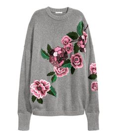 Check this out! Soft, oversized knit sweater with wool content. Beaded and sequined embroidery, dropped shoulders, and long sleeves with wide, ribbed cuffs. - Visit hm.com to see more.