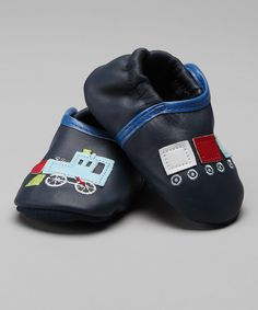 Zutano Navy Train Booties - Infant & Toddler