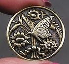 BRASS PICTURE BUTTON ~ BUTTERFLY & FLOWERS    METAL