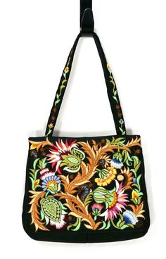 bef51ef333 Fantastic 1950 s Embroidered Floral Purse Made In Japan By Walborg