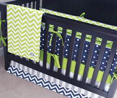 Custom Crib Bedding - Lime Green Chevron, Navy Blue Polka Dot And Grey Baby…