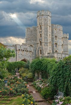 Windsor Castle from the rose garden, England (by Bobrad)