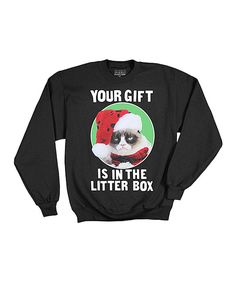 Love this Black 'Gift Is in the Litter Box' Sweatshirt - Adult by Grumpy Cat on #zulily! #zulilyfinds