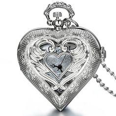 JewelryWe Bijoux Pendentif Collier Femme Creux Montre de Poche Gousset Coeur Amour Aile Ange Cadran Chiffre Quartz Alliage Fantaisie Couleur Argent Chaîne Longueur 78cm 2017 #2017, #Montresdepocheetgoussets http://montre-luxe-femme.fr/jewelrywe-bijoux-pendentif-collier-femme-creux-montre-de-poche-gousset-coeur-amour-aile-ange-cadran-chiffre-quartz-allia/