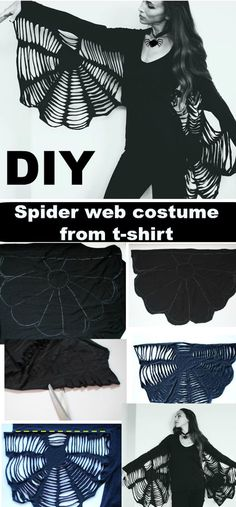 Not everyone is a master seamstress or even has time to shop for costumes let alone make one. So here is a perfect last minute p. Diy Spider Costume, Diy Halloween Costumes, All Black Halloween Costume, Creepy Costumes, Homemade Halloween, T Shirt Costumes, Trash To Couture, Diy Goth Clothes, Diy Clothing
