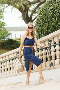 bf18027fb371 Belting a slip dress can make a simple dress look more styled and fit