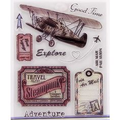 Air Explore Travelling Transparent Clear Silicone Stamp/Seal for DIY scrapbooking/photo album Decorative clear stamp sheets #hats, #watches, #belts, #fashion, #style