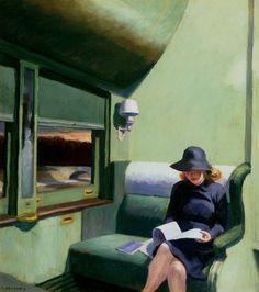 """1938 - """"Compartment C Car 293"""" par Edward Hopper (1882-1967) peintre américain - Huile sur toile (50 x 45 cm) Collection IBM - « tu sembles si loin, si proche à la fois, dans l'ordre incertain, d'un silence bourgeois, voyageuse solitaire, entourée de mystère, les pages que tu lis, nous cachent ton regard, te cachent-elles aussi, qu'une guerre se prépare, voyageuse solitaire, entourée de mystère. » Hubert-Félix Thiéfaine """"Compartiment C, voiture 293"""" (album Suppléments de mensonge, 2011)."""