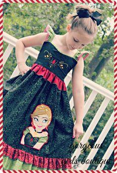 Anna Frozen, Girls Boutique, Custom Dresses, Disney Outfits, Disney Inspired, Disney Trips, Machine Embroidery, Kids Fashion, Facebook