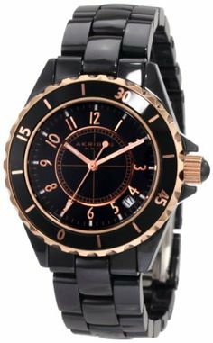 Akribos XXIV Women's AKR484BKR Allura Rose-Tone Black Ceramic Watch Akribos XXIV. $109.95. Water-resistant to 33 feet (10 M). Full ceramic bracelet and case. Date window at 4:00 position protected by sapphire crystal. Reliable and accurate Japanese movement. Genuine crystal hour markers. Save 87%!