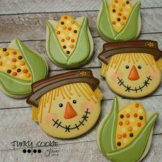 Corn on tulip cutter, scarecrow on hamburger cutter