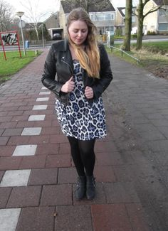 Love this leather jacket with Sun dress and tights