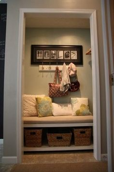 Mini mud room/storage....this is so dang cute! Remove closet doors and look what you can do...take a look at the pics, its so clever!
