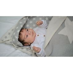 Babydecke und Puckdecke aus Baumwolle, grau mit Sternen, von David Fussenegger