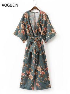 VOGUEIN New Womens Ladies Floral Print Kimono Short Sleeve Jumpsuit Playsuit Size SML Wholesale #Affiliate