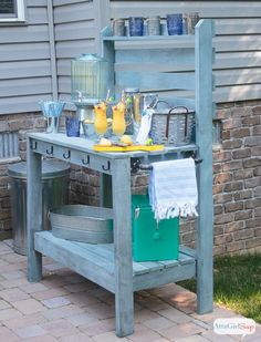 Diy Potting Bench New Diy Potting Bench &amp Outdoor Buffet Table. Outdoor Potting Bench, Potting Tables, Rustic Potting Benches, Outdoor Buffet Tables, Pottery Barn Outdoor, Diy House Projects, Outdoor Living, Outdoor Decor, Outdoor Bars