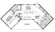 Traditional Style House Plan - 1 Beds 1.00 Baths 768 Sq/Ft Plan #18-1050 Floor Plan - Main Floor Plan