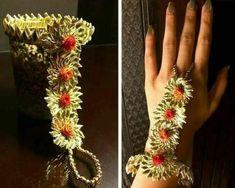 Ravishing Hathphool Designs Perfect for The Stellar Brides of 2020 Flower Jewellery For Mehndi, Diy Fabric Jewellery, Flower Jewelry, Silk Bangles, Thread Bangles, Handmade Rakhi Designs, Handmade Jewelry Designs, Gota Patti Jewellery, Rakhi Making