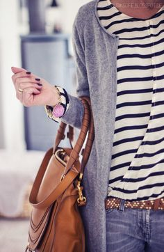simple outfit- stripes and gray cardigan