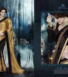 Buy Golden embroidered Georgette saree with blouse party-wear-saree online
