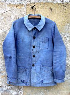 """The Vintage Catalogue: 1940's FRENCH BLUE MOLESKIN FADED WORK JACKET, CLASSIC BRAND """"LE MONT ST MICHEL"""" - Ancienne veste de travail en moleskine bleue, """"Le Mont St Michel"""", France vers 1940"""