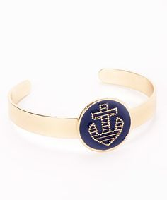 Take a look at this Goldtone & Blue Anchor Cuff on zulily today!