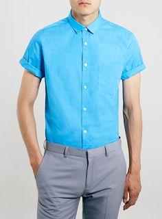 Turquoise Short Sleeve dress Shirt - Topman