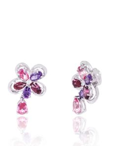 Garnet, Amethyst, Pink Topaz Flower Earrings, Nature, 18K white gold, dangling, colorful, semi-precious,