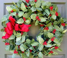 Classic Holly Wreath - Creative Decorations by Ridgewood Designs Christmas Rock, Green Christmas, All Things Christmas, Winter Christmas, Christmas Time, Christmas Wreaths, Christmas Decorations, Holiday Decor, Holiday Time