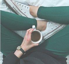 Green jeans & white chucks