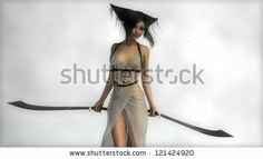 Young Elf Girl With Two Swords Stock Photo 121424920 : Shutterstock