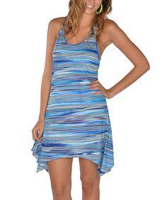 Look what I found on #zulily! Blue Stripe Racerback Handkerchief Dress - Women #zulilyfinds