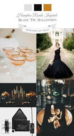 Elegant, black tie Halloween wedding inspiration using the colors black and copper.