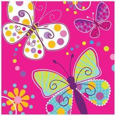 Servetten vol met vlindertjes...Om de aankleding van je kinderfeestje helemaal vrolijk te maken. www.creakelder.nl