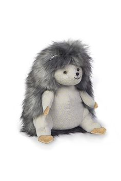 """""""Posh"""" Bertie Bristles This handsome chap has been a real success. The textures of the faux fur work really well against the grey brocade fabric."""