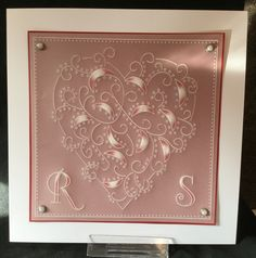 Heart plate and Art deco alphabet Groovi card created by Jo Rice